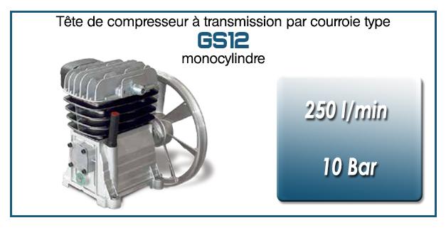 Tête de compresseur à transmission par courroie type GS12