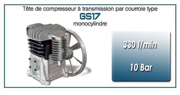 Tête de compresseur à transmission par courroie type GS17