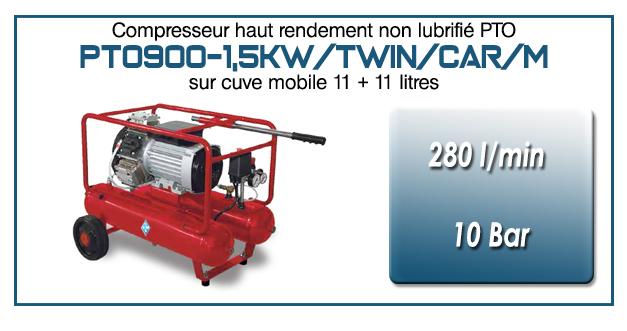 Compresseur tricylindre Oilless type PTO900 – 280 l/min sur double cuve mobile de 11 Litres