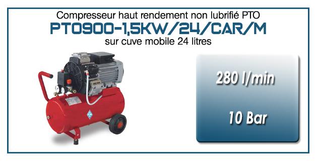 Compresseur tricylindre Oilless type PTO900 – 280 l/min sur cuve mobile de 24 Litres