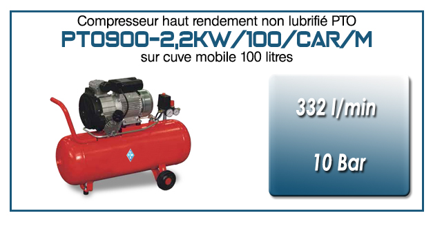 Compresseur tricylindre Oilless type PTO900 – 332 l/min sur cuve mobile de 100 Litres