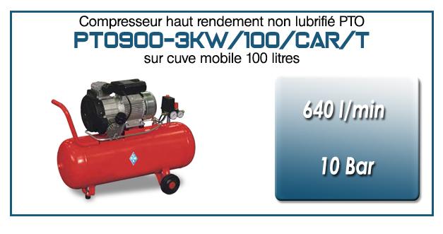 Compresseur tricylindre Oilless type PTO900 – 640 l/min sur cuve mobile de 100 Litres