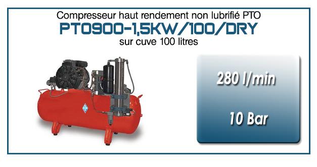 Compresseur tricylindre Oilless type PTO900 – 280 l/min sur cuve fixe de 100 Litres (version avec sécheur par absorption)