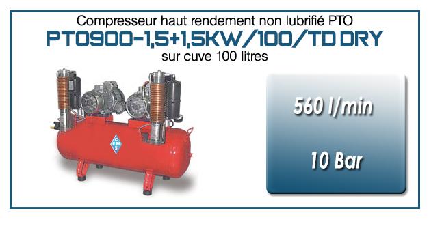 Compresseur tricylindre Oilless en duo type PTO900 – 560 l/min sur cuve fixe de 100 Litres (version avec sécheur par absorption)