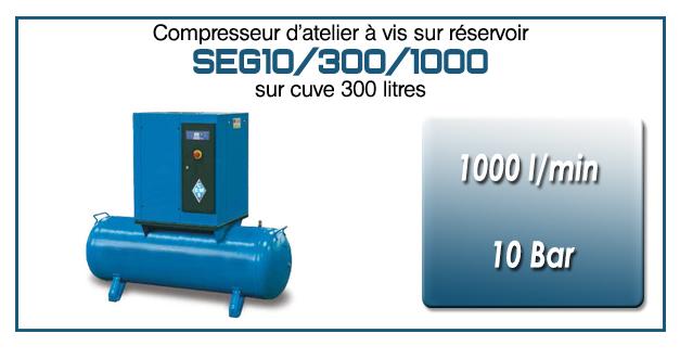 Compresseur à vis sur réservoir 300 litres type SEG10 – 1000 l/min