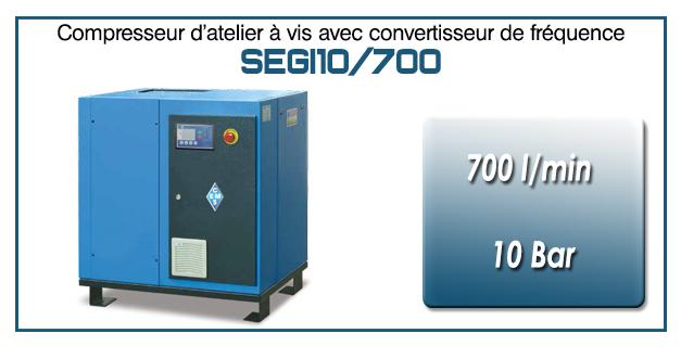 Compresseur à vis SEGI10-700 l/min
