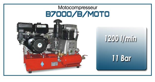 Moto-compresseur bicylindre lubrifié type B7000 – 1200 l/min avec moteur essence