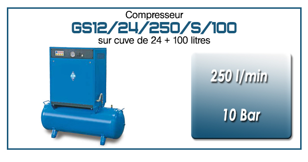 Compresseur silencieux sur réservoir 24+100 litres GS12 – 250 l/min
