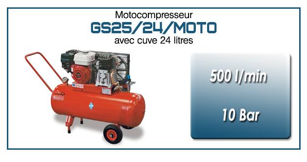 Moto-compresseur bicylindre sur réservoir mobile de 24 litres type GS25 – 500l/min avec moteur essence