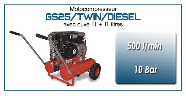 Moto-compresseur bicylindre sur double réservoir mobile type GS25 – 500l/min avec moteur diesel