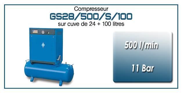 Compresseur silencieux sur réservoir 24+100 litres GS28 – 500 l/min