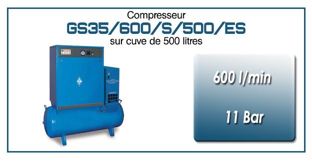 Compresseur silencieux sur réservoir 500 litres avec sécheur type GS35–600 l/min