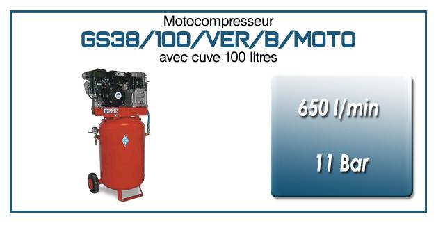 Moto-compresseur bicylindre sur réservoir vertical mobile de 100 litres type GS38 – 650l/min avec moteur essence