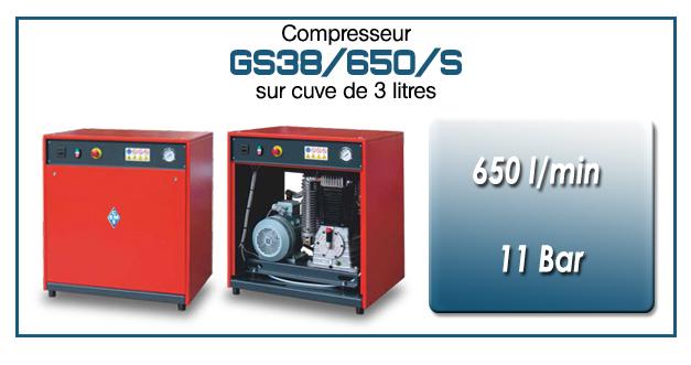 Compresseur silencieux avec réservoir 3 litres type GS38 – 650 l/min