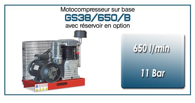 Moto-compresseur bicylindre lubrifié type GS38 – 650 l/min avec moteur électrique triphasé