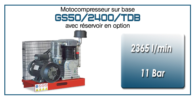 Moto-compresseur en duo bicylindres lubrifiés type GS50 – 2365 l/min avec moteur électrique triphasé