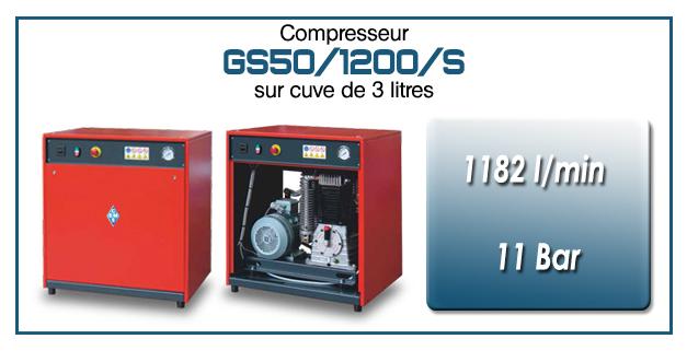 Compresseur silencieux avec réservoir 3 litres type GS50 – 1182 l/min