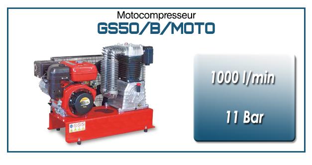 Moto-compresseur bicylindre lubrifié type GS50 – 1000 l/min avec moteur essence