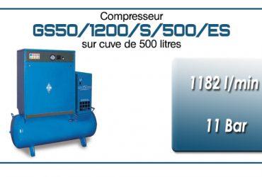 Compresseur silencieux sur réservoir 500 litres avec sécheur type GS50–1182 l/min