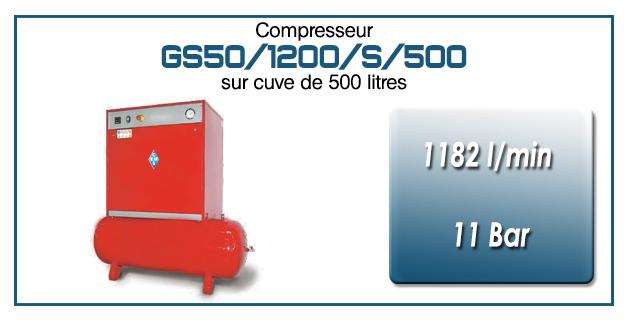 Compresseur silencieux sur réservoir 500 litres type GS50 – 1182 l/min