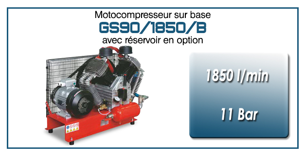 Moto-compresseur à quatre cylindres lubrifiés type GS90 – 1850 l/min avec moteur électrique triphasé