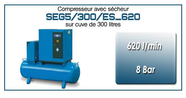 Compresseur à vis sur réservoir 300 litres avec sécheur type SEG5 – 620 l/min