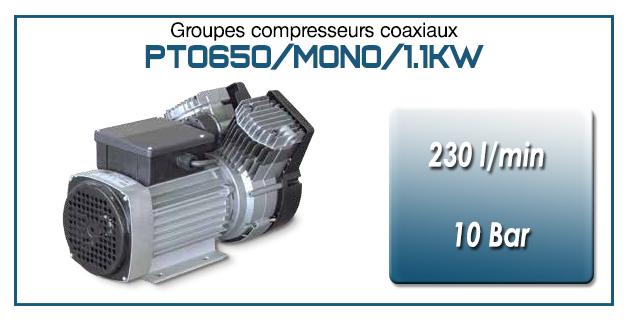 Moto-compresseur bicylindre Oilless type PTO650/MONO-1.1KW