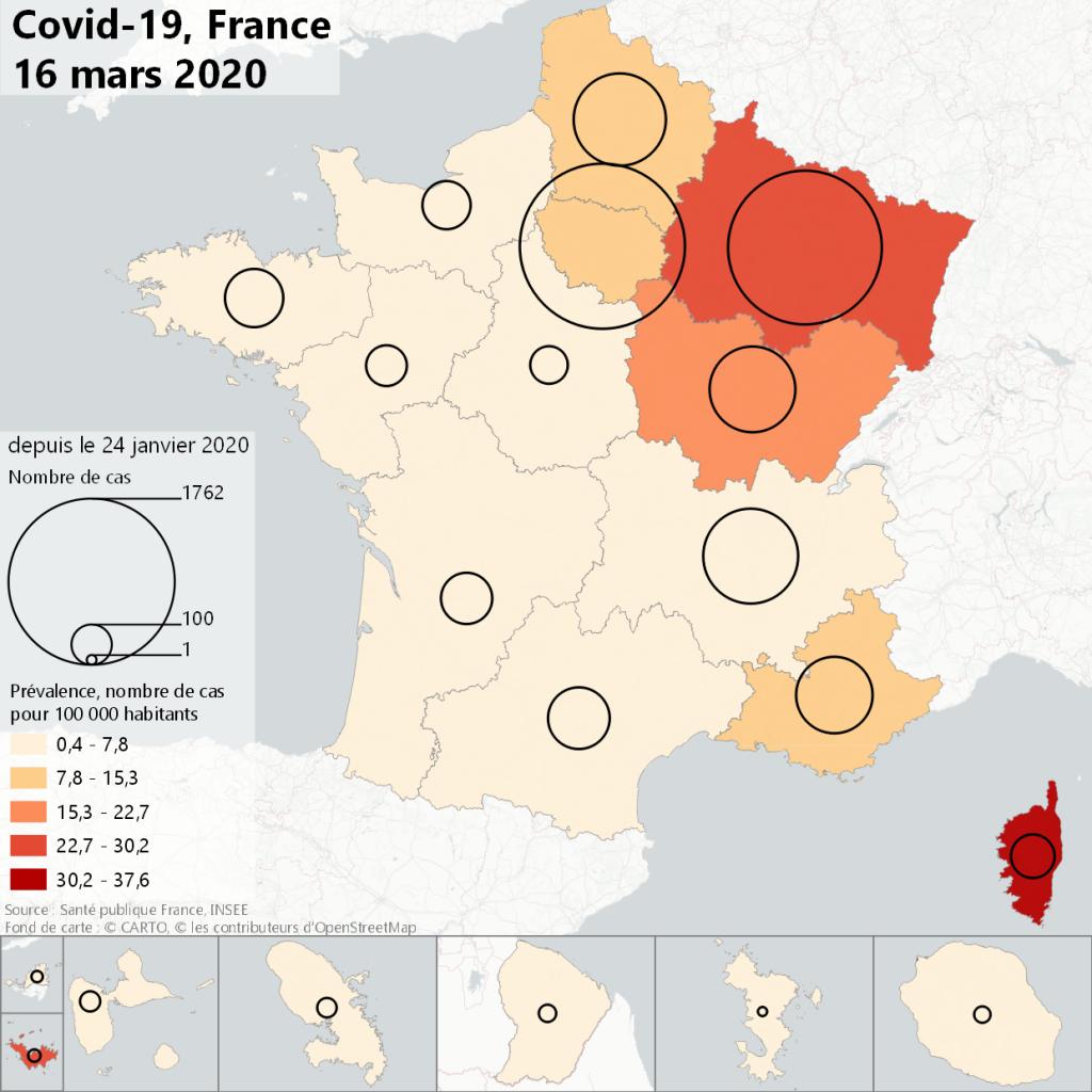 Carte épidémie Covid19 France 16/03/2020